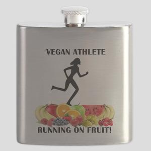 Lady Vegan Athlete Running on Fruit Flask