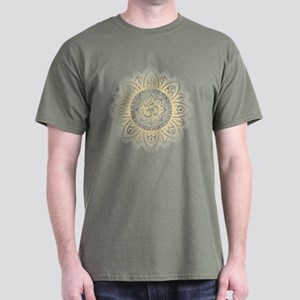 Yoga Mandala Henna Ornate Ohm Crown Black T-Shirt