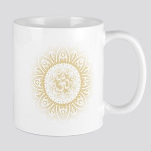 Yoga Mandala Henna Ornate Ohm Crown Black Mugs