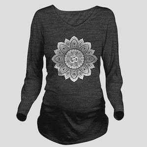 Yoga Mandala Henna Ornate Ohm Crown Black Long Sle