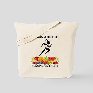 Girl Vegan Athlete Running on Fruit Tote Bag