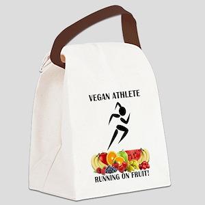 Girl Vegan Athlete Running on Fruit Canvas Lunch B