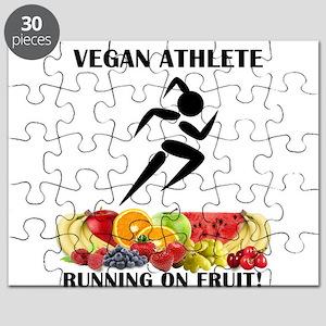 Girl Vegan Athlete Running on Fruit Puzzle