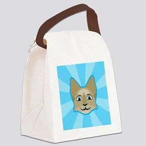 Anime Cat Face With Blue Eyes Canvas Lunch Bag