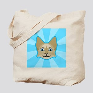 Anime Cat Face With Blue Eyes Tote Bag