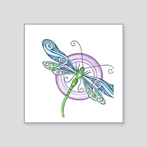"Whimsical Dragonfly Square Sticker 3"" x 3"""
