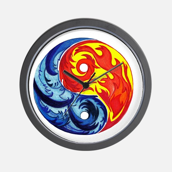 Yin-Yang Fire and Ice Wall Clock