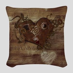 Steampunk Love Woven Throw Pillow