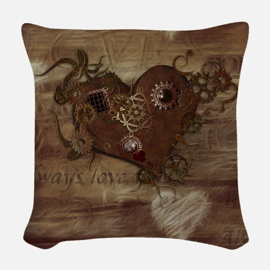 Steampunk Love Woven Throw Pillow