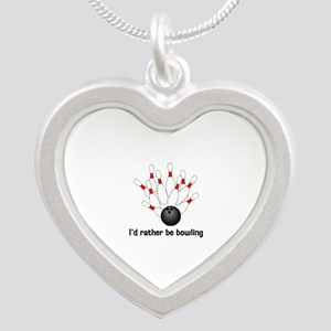 I'd Rather Be Bowling Silver Heart Necklace