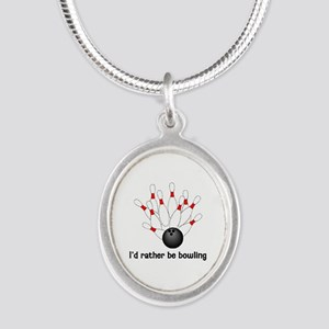 I'd Rather Be Bowling Silver Oval Necklace