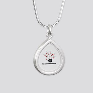 I'd Rather Be Bowling Silver Teardrop Necklace
