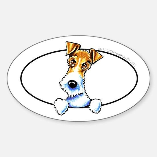 Wire Fox Terrier Peeking Decal