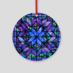 Blue Quilt Ornament (Round)