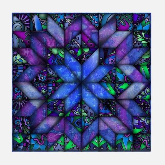 Blue Quilt Tile Coaster