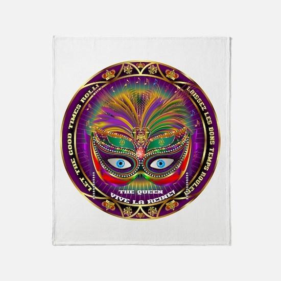 Mardi Gras Queen 8 Throw Blanket