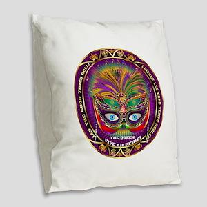 Mardi Gras Queen 8 Burlap Throw Pillow