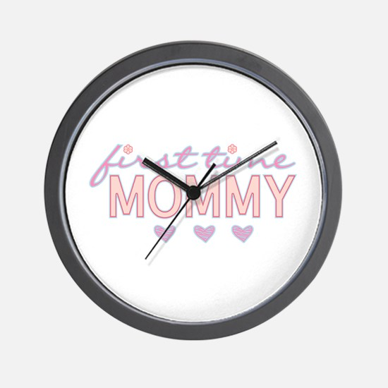 Girly First Time Mommy Wall Clock