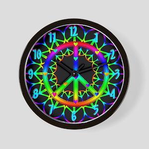 Peace Love Neon Look Wall Clock