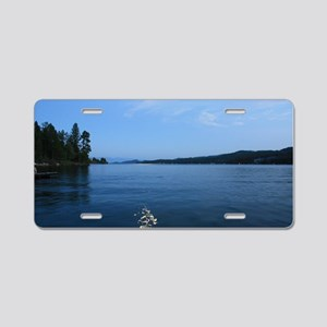Moon over Flathead Lake Aluminum License Plate