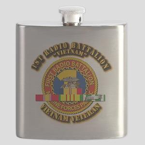 USMC - 1st Radio Battalion - w VN SVC Ribbon Flask
