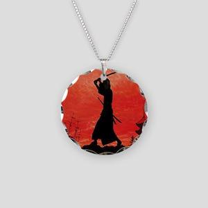 Samurai sunset posing Necklace Circle Charm
