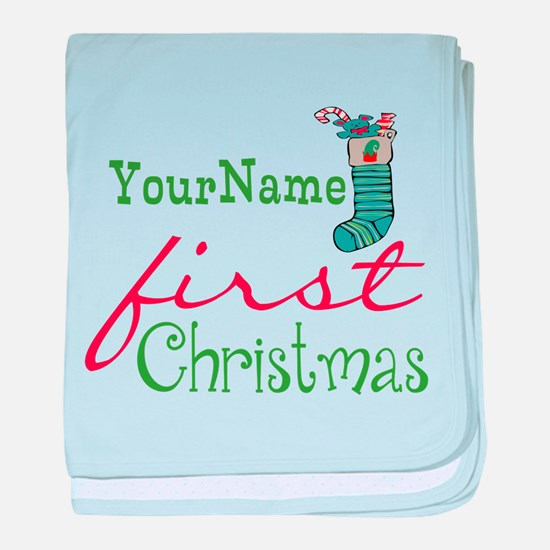 Personalized Name First Christmas baby blanket