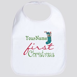 Personalized Name First Christmas Bib