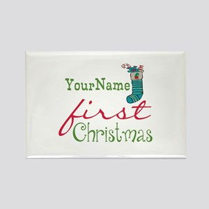 Personalized Name First Christmas Rectangle Magnet