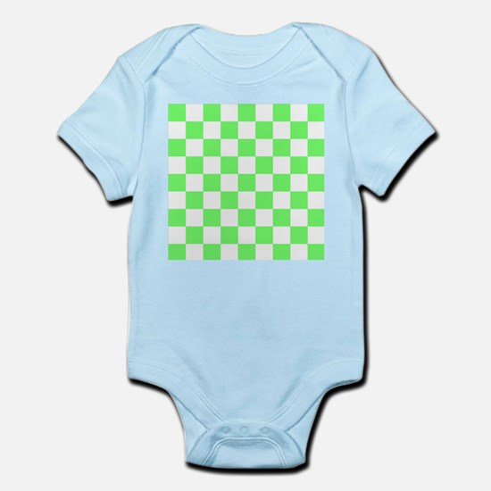 Neon Green and white Check Body Suit