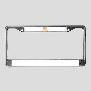 Orange and white Check License Plate Frame