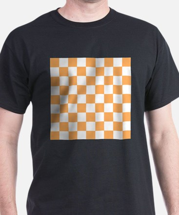 Orange and white Check T-Shirt