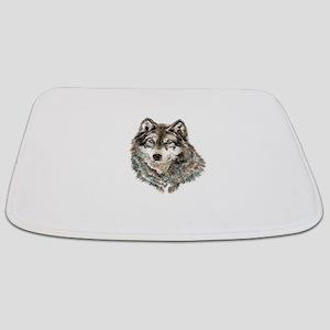 Watercolor Grey, Gray Wolf Animal Painting Bathmat
