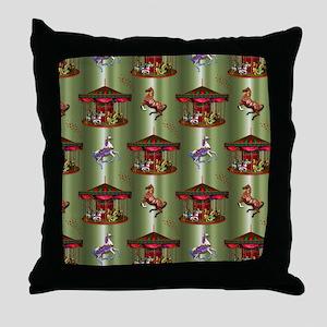 Christmas Carousel Throw Pillow