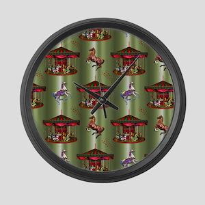 Christmas Carousel Large Wall Clock