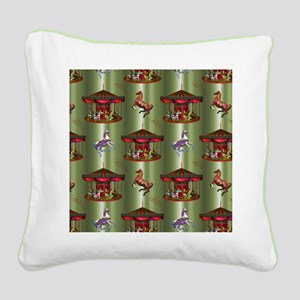 Christmas Carousel Square Canvas Pillow