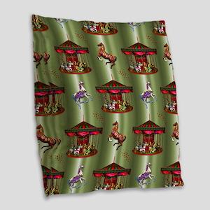 Christmas Carousel Burlap Throw Pillow