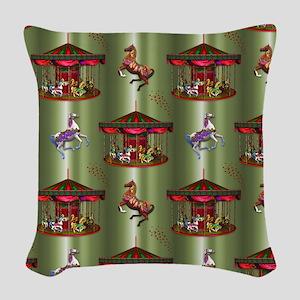 Christmas Carousel Woven Throw Pillow