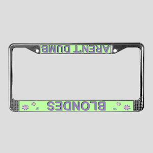 'Blondes Aren't Dumb' Green License Plate Frame