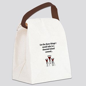 Deserted Island and Wine Canvas Lunch Bag