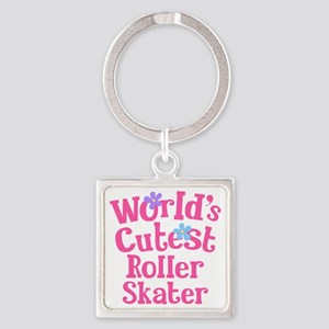 Worlds Cutest Roller Skater Square Keychain