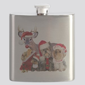 Yorkshire Terrier Santa Family Flask