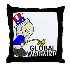 Piss On Global Warming Throw Pillow