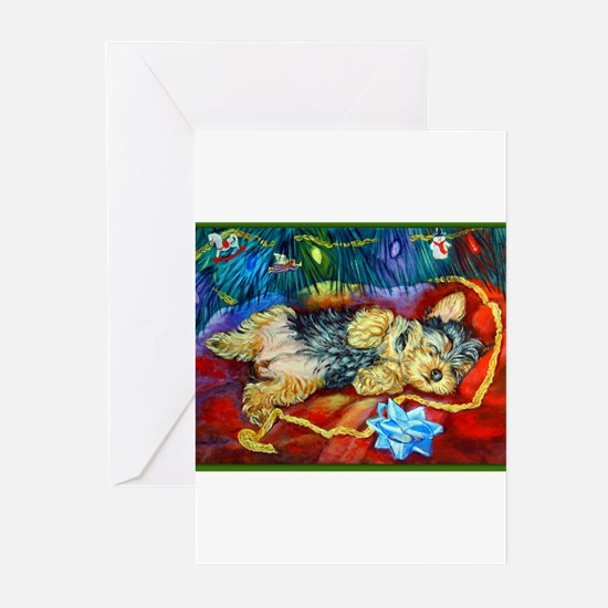 Yorkie Santa Dreams Christmas Cards (Pk of 10) Gre
