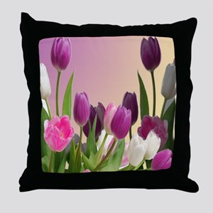 Purple and White Tuliips Throw Pillow