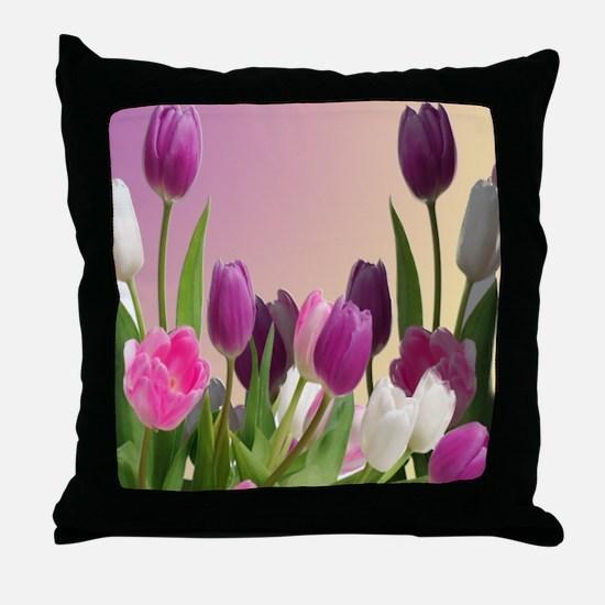 Purple and White Tuliips Throw Pillow