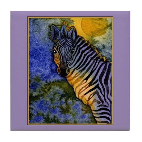Gold Moon Zebra Tile Coaster