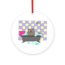 Cat Bath Ornament (Round)