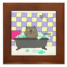 Cat Bath Framed Tile