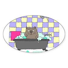 Cat Bath Oval Sticker
